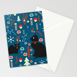Black kitties in winter Stationery Cards