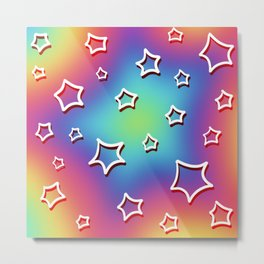 Rainbow Stars Design Metal Print