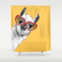 Fashion Hipster Llama with Glasses Shower Curtain