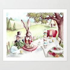 The Mad Tea Party - Alice in Wonderland - By Lewis Carroll Art Print