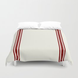 Vintage Country French Grainsack Red Stripes Creme Background Duvet Cover
