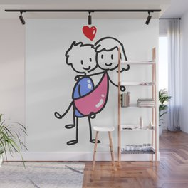 Couple Stick Figure, Carry the girl Wall Mural