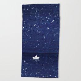 Zen sailing, ocean, stars Beach Towel