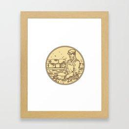 Cheesemaker Making Cheddar Cheese Circle Drawing Framed Art Print