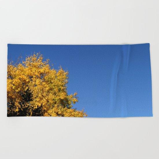 Yellow Autumn Tree Beach Towel