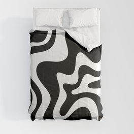 Liquid Swirl Abstract Pattern in Black and White Comforters