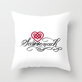Sassenach with Red Celtic Heart (Light) Throw Pillow