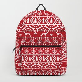 Greyhound fair isle christmas holidays pattern red and white dog gifts Backpack