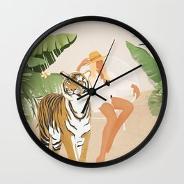 The Lady and the Tiger Wall Clock