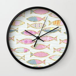 Fancy Fish pastel patchwork pattern Wall Clock