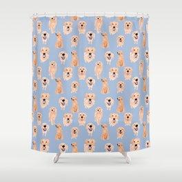 Golden Retrievers on Blue Shower Curtain
