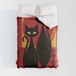 Devilishly Delightful Atomic Age Black Kitschy Cats Comforters