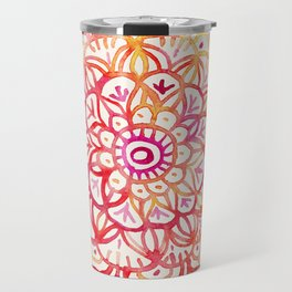 Watercolor Medallion in Sunset Colors Travel Mug