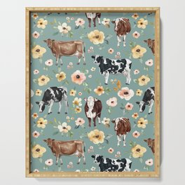 Cows and Flowers on Country Blue, Yellow Flowers, Cow Floral, Pink Flowers Serving Tray