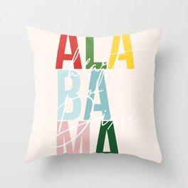 "Alabama ""Heart of Dixie"" Color Throw Pillow"