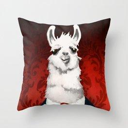 Formal Llama - Red Throw Pillow