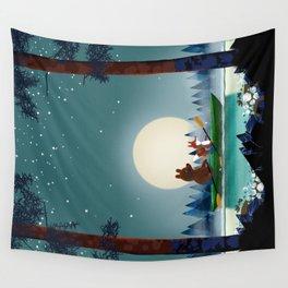 Bear and Fox kayaking Wall Tapestry
