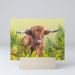 Highland Cow with grass Illustration Design Mini Art Print