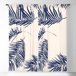 Blue Palm Leaves x Dry Brush Blackout Curtain