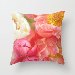 My Little Peonies Throw Pillow