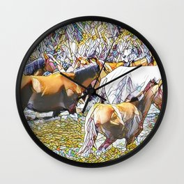 Wild Horses in Phoenix Arizona Wall Clock