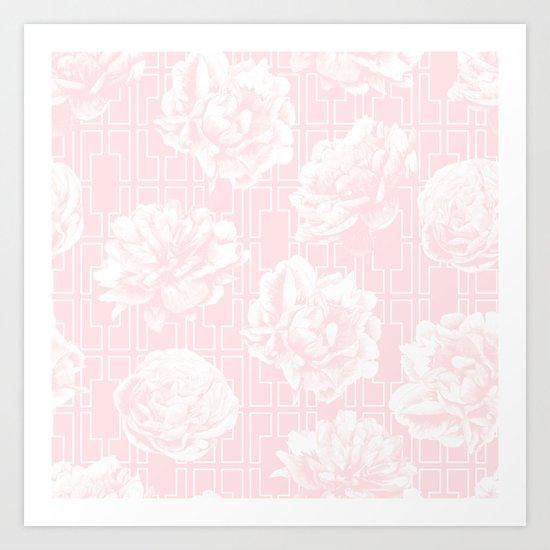 Rose Garden Pink Flamingo on White Mid-Century Lattice Art Print