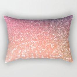 Rose Gold Peach Glitter Blush Rectangular Pillow