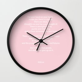 Pastel Pink Inspiration Never Give Up Wall Clock
