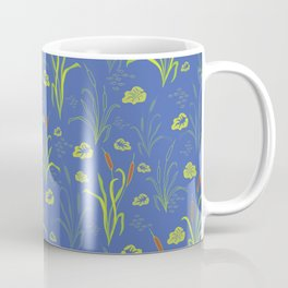 Bright Blue Pond Water With Bullrushes Coffee Mug
