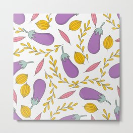 Purple Cute Aubergine and Leaves Metal Print