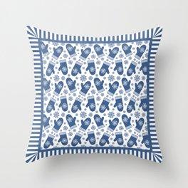 Wintery Blue Snowflake Mittens Throw Pillow
