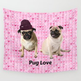 Pug Love Wall Tapestry