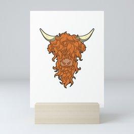 The Ginger Beard Man Highland Cow Cattle Red Head Mini Art Print