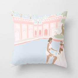 Motel Pool Throw Pillow