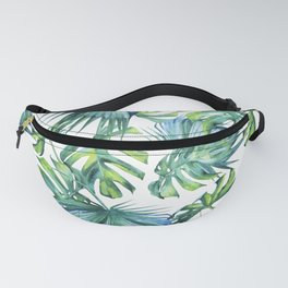 Blue Jungle Leaves, Monstera, Palm #society6 Fanny Pack