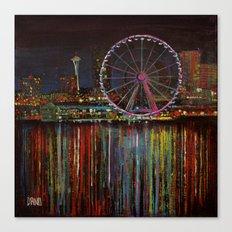 Seattle Wheel at Night Canvas Print