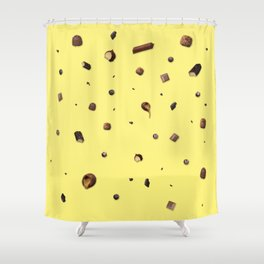 Falling chocolates with yellow background Shower Curtain