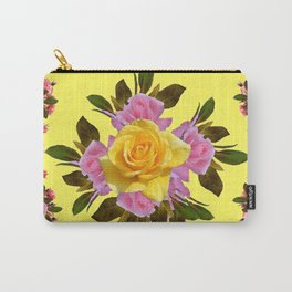 PINK ROSE GARDEN YELLOW  ROSES FLOWERS Art Carry-All Pouch