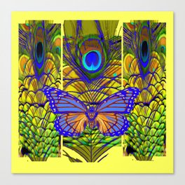 FANTASY PURPLE MONARCH BUTTERFLY PEACOCK FEATHER Canvas Print
