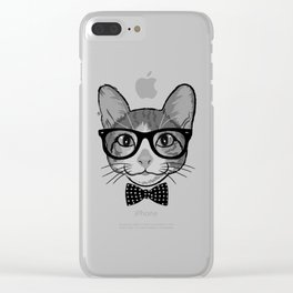 Cat Hipster With Polka Dots Bow Tie - Black White Clear iPhone Case