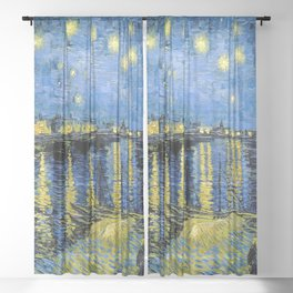 Vincent van Gogh Starry Night over the Rhone Sheer Curtain