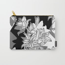 Black and White Ink Lilium Stargazer Patchwork Carry-All Pouch