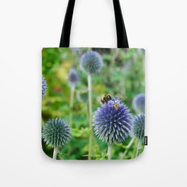 The Buzz in the Garden Blue Globe Flowers Tote Bag
