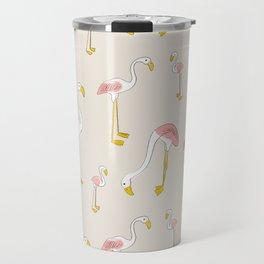 Flamingos - Pink on Cream Travel Mug