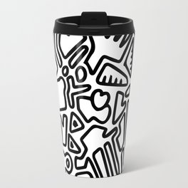 black & white doodle Travel Mug