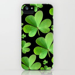 Clovers on Black iPhone Case