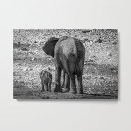 B&W Elephant Love 4 Metal Print