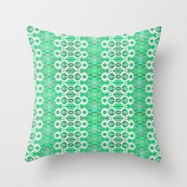 Glowing Resonant Boho Psychedelic Goth Romantic Green Lace Throw Pillow