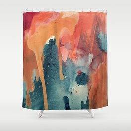 Pour Some Sugar on Me: a colorful mixed media abstract in pinks blues orange and purple Shower Curtain