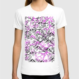 Artistic black pink cute love birds tree branches pattern T-shirt